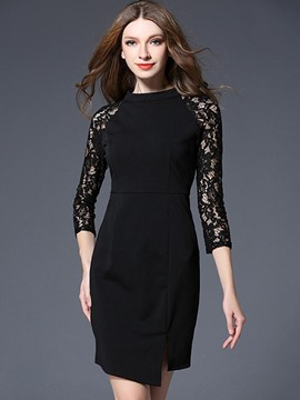 Ericdress Hollow Lace 3/4 Length Sleeve Bodycon Dress