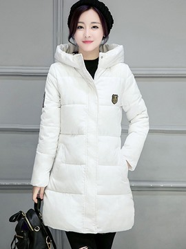 Ericdress Plain Mid-Length Hooded Down Coat