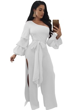 Ericdress Asymmetric Lace-Up Plain Jumpsuits Pants