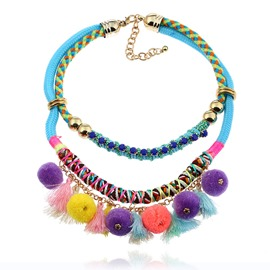 Ericdress National Style Fuzzy Ball Tassel Women's Necklace