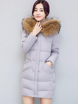 Ericdress Plain Mid-Length Fur Down Coat