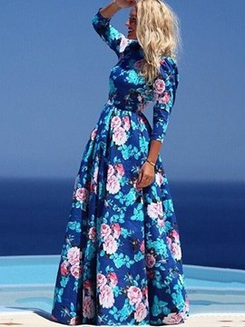 Ericdres Floor-Length Floral Print Expansion Maxi Dress