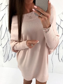 Ericdress Slash Neck Batwing Sleeve Above Knee Sweater Dress