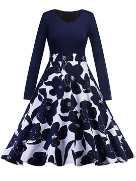 Ericdress V-Neck Floral Print Long Sleeve A Line Dress