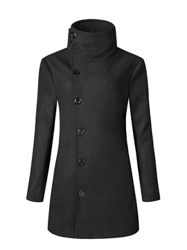 Ericdress Plain Stand Collar Single-Breasted Casual Men's Woolen Coat