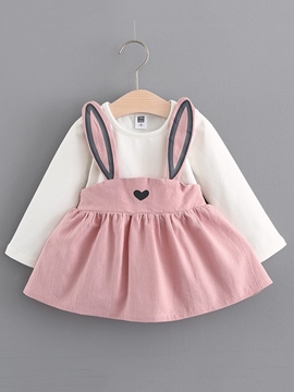 ericdress lovely rabbit bretelles patchwork baby girls dress