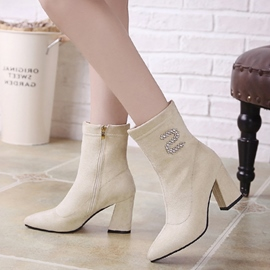Ericdress Rhinestone Pointed Toe Plain Ankle Boots