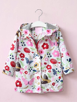 Ericdress Floral Zipper Windproof Hooded Girl's Outerwear