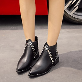 Ericdress British Rivet Pointed Toe Plain Ankle Boots