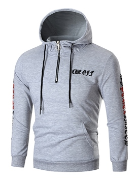 Ericdress Hooded Zip Letter Print Men's Hoodie
