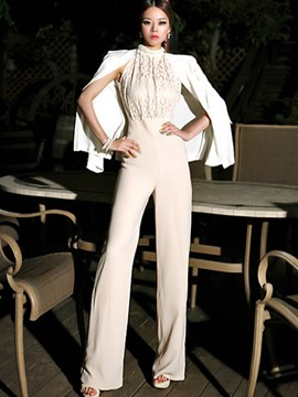 Ericdress Beading Lace Hollow Jumpsuits Pants