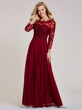 Ericdress Bateau Neck Long Sleeves Lace Appliques Evening Dress