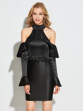 Ericdress Sheath High Neck Short Long Sleeve Cocktail Dress