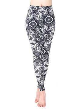 Ericdress Mid-Waist Plain Print Floral Leggings Pants