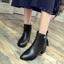 Ericdress All Match Fringe Plain Ankle Boots
