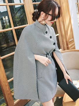 Ericdress Loose Houndstooth Mid-Length Cape