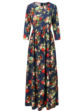 Ericdress Floor-Length Floral Print Long Sleeve Dress