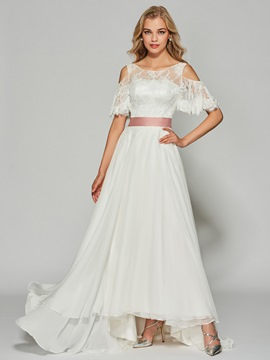 Ericdress A Line Half Sleeve Long Lace Prom Dress With Bowknot