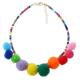 Ericdress Beads Fuzzy Ball Candy Color Charm Necklace