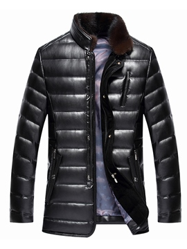 Ericdress Stand Collar Mid-Length Zip Men's Winter Coat