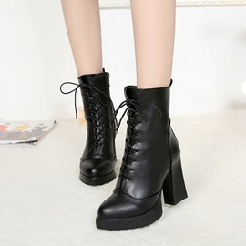 Ericdress Cross Strap Platform Plain Martin High Heel Boots