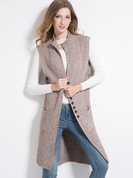 Ericdress Plain I Type Mid-Length Fall Vest