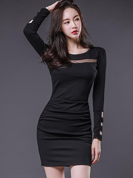 Ericdress Mesh Patchwork Long Sleeve Bodycon Dress