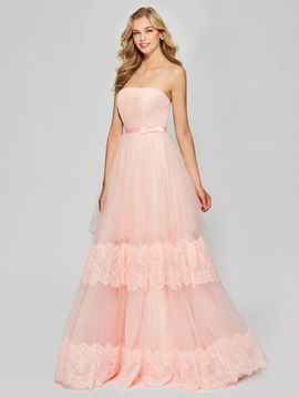 Ericdress A Line Strapless Layers Applique Long Prom Dress