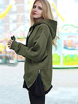 Ericdress Loose Plain Zipper Thick Cool Hoodie