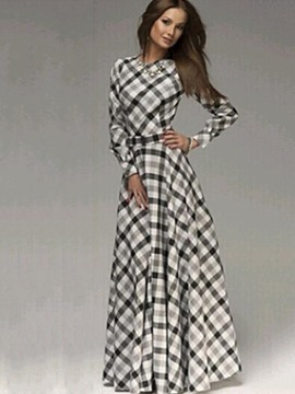 Ericdress Plaid Expansion Maxi Long Sleeve Dress