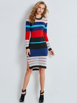 Ericdress Slash Neck Single-Breasted Long Sleeve Sweater Dress