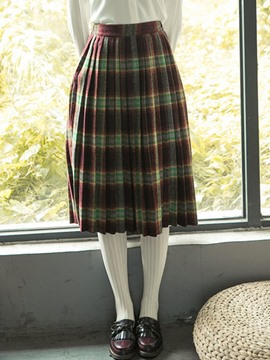 Ericdress Plaid High-Waist Pleated Autumn Usual Skirts