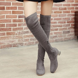 Ericdress Fashion Rhinestone Round Toe Plain Knee High Boots