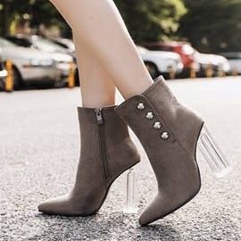 Ericdress Rivet Pointed Toe Clear Chunky Heel Boots