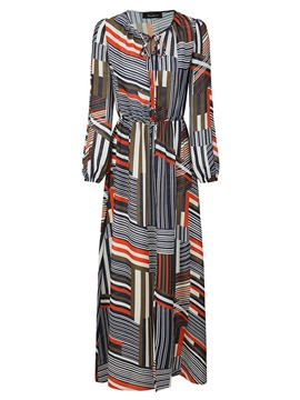 Ericdress Trumpet Floor-Length Print Long Sleeve Dress
