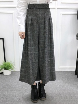 Ericdress Plaid High-Waist Wide Legs Pants