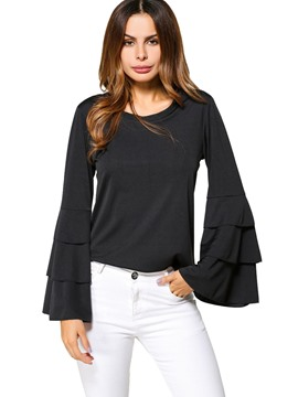 Ericdress Plain Scoop Flare Sleeve T-shirt