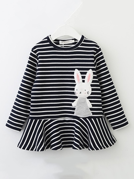 a11e436bcbf Ericdress Rabbit Pattern Striped Falbala Girl s Dress.  . Black White.