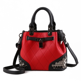 Ericdress Vintage Color Block Rivet Women Tote