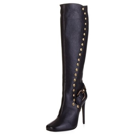 Ericdress Unique Rivet Buckle Plain Knee High Boots