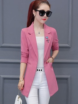 Ericdress Slim Notched Lapel Mid-Length Blazer