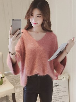 Ericdress V-Neck Plain Loose Flare Sleeve Knitwear