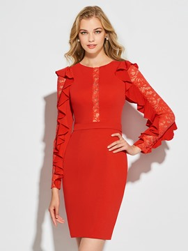 Ericdress Sheath Long Sleeve Scoop Neck Short Cocktail Dress