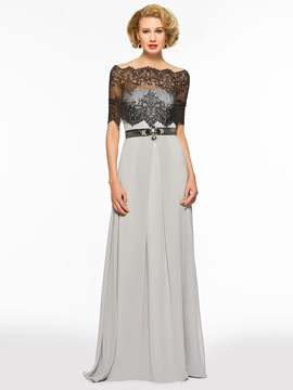 9a59fb83384 Ericdress Off The Shoulder Half Sleeves A Line Lace Mother Of The Bride  Dress