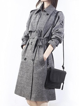 Ericdress Loose Double-Breasted Mid-Length Trench Coat