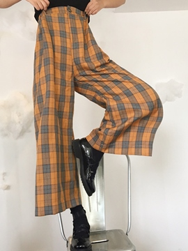 Ericdress Plaid Wide Legs High-Waist Pants