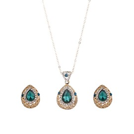 Ericdress Waterdrop Pendant Blue Rhinestone Women's Jewelry Set