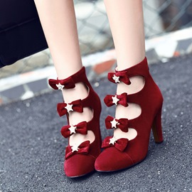 Ericdress Graceful Hollow Plain High Heel Boots with Bowknot