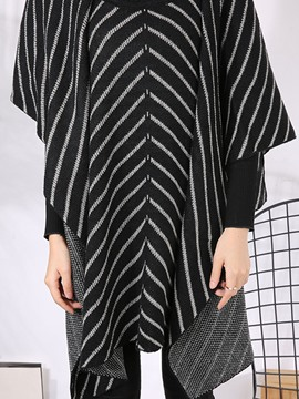 Ericdress Stripe Loose Turtleneck Cape