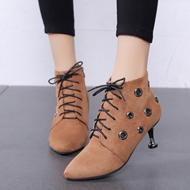Ericdress Fashion Cross Strap Plain High Heel Boots